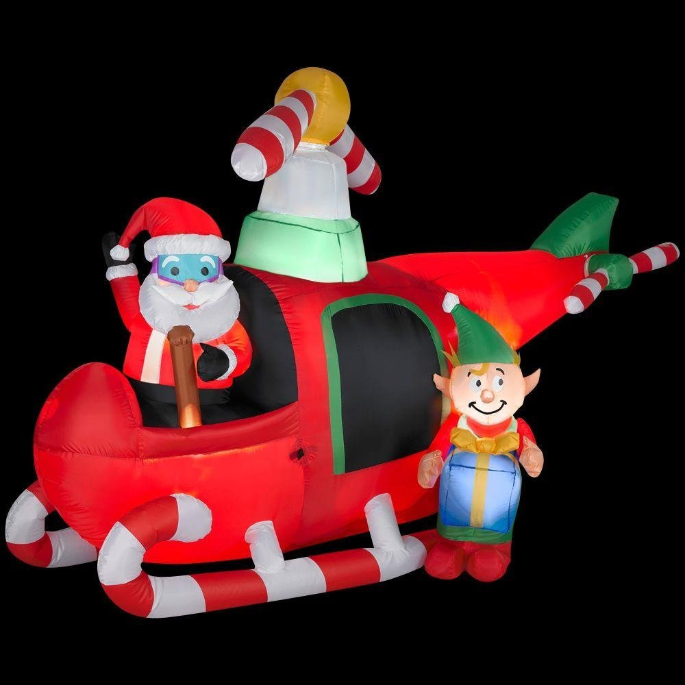Christmas Decoration Lawn Yard Inflatable Airblown Animated Santa Elf In Helicopter 7 5 Tall