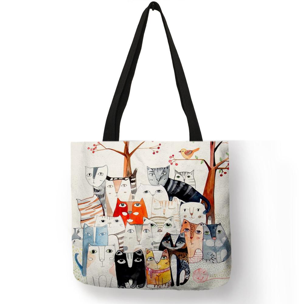 Женская сумка-тоут с милым рисунком кошки из мультфильма, Сумка с принтом из эко-льна, модная практичная сумка через плечо для путешествий(Китай)