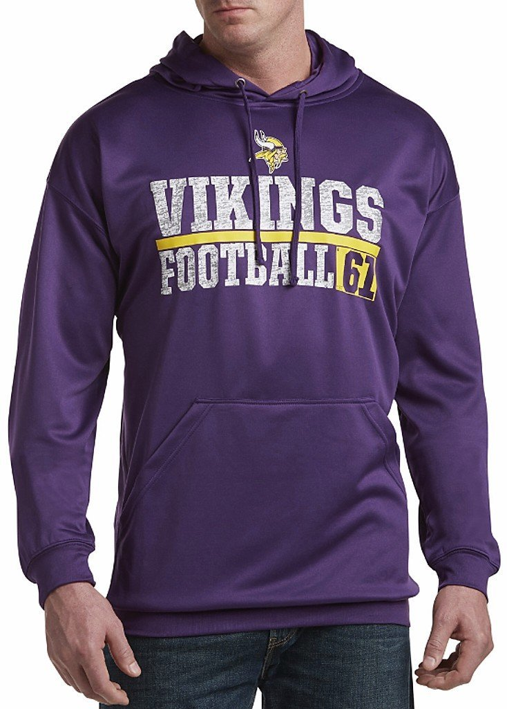 Get Quotations · Minnesota Vikings NFL Majestic Mens 1 Handed Catch  Synthetic Polyester Performance Fleece Hoodie Purple Big   7a6436863