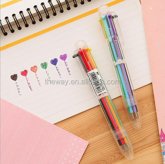 6 color retractable ball pen 0.5mm cartoon ball point pen Birthday gift