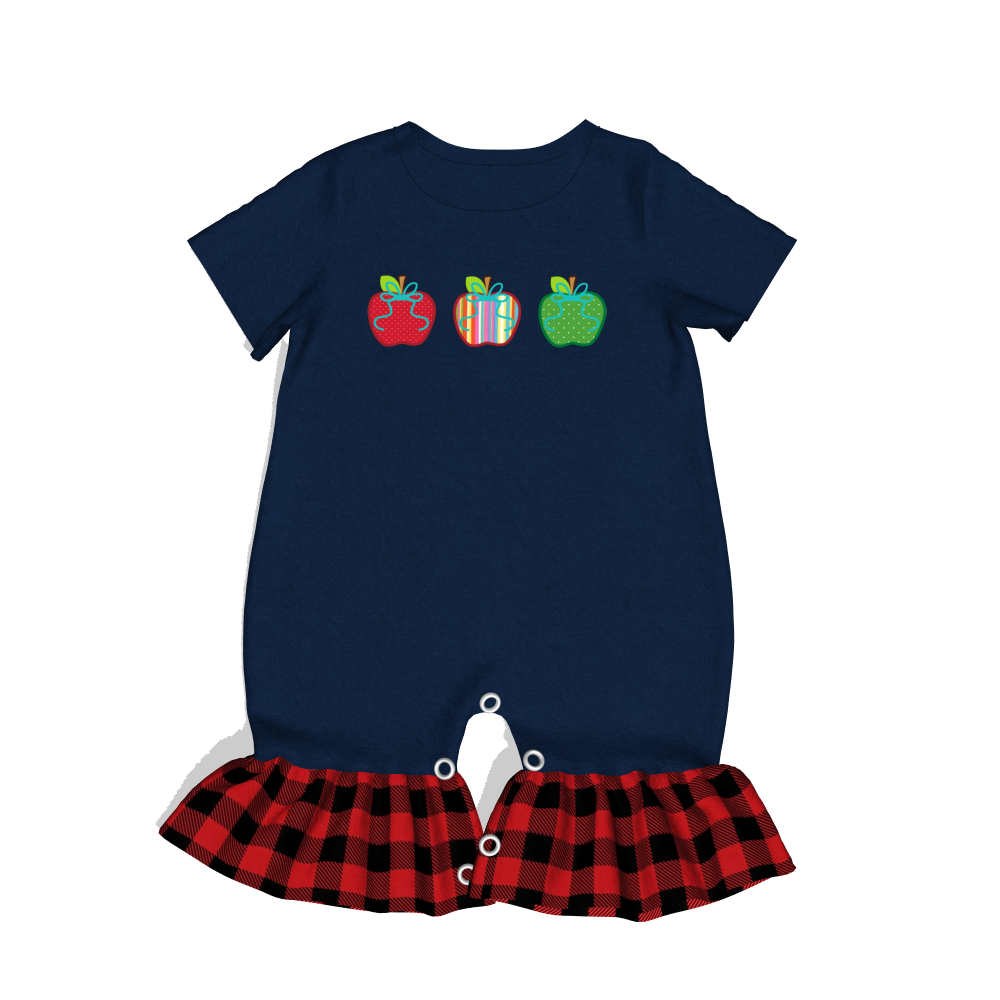 Fashionable and lovely girl clothing wholesale romper apple print romper ruffle plaid romper фото