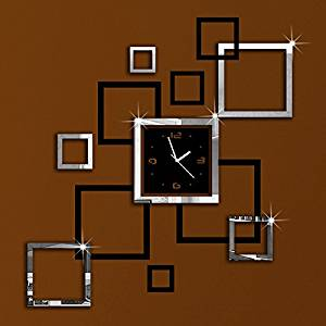 Alrens_DIY(TM)Black and Silver Suqares Frames Art Mordern Luxury Design Acrylic Silent Quartz Wall Clock DIY Removable 3D Crystal Mirror Wall Clock Acrylic Non-ticking Quiet Quartz Clock Wall Sticker Home Decor Art Living Room Bedroom Decoration