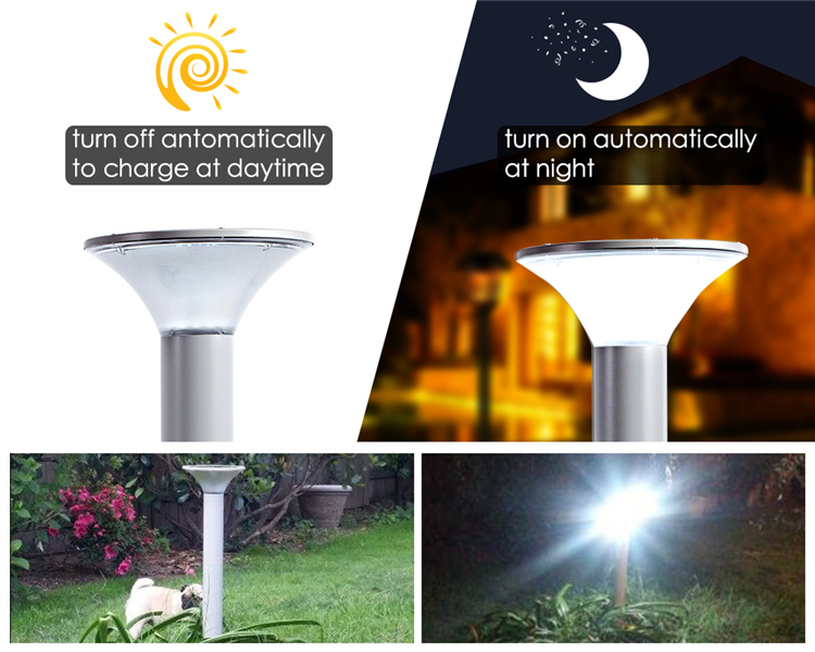 5w outdoor waterproof integrated solar garden light for lawn, patio, yard, walkway, driveway aluminum solar path courtyard light