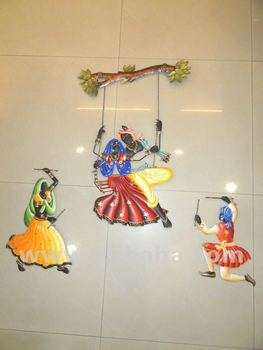 Radha Krishna With Dandiya Couple Metal Wall Hanging Buy