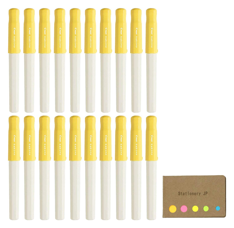 Pilot Kakuno Fountain Pen, Extra Fine Nib, Soft Yellow Body, 20-pack, Sticky Notes Value Set