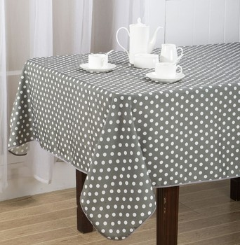 1PC 100% Polyester Solid Dining Table Cover with Small Black and White Dots