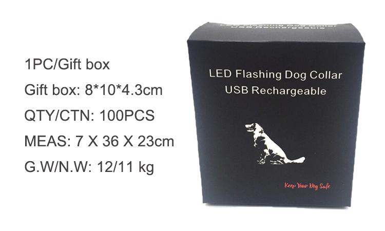 Rechargeable Pet Dog Collar Led Light Night Luminous Dog Collar
