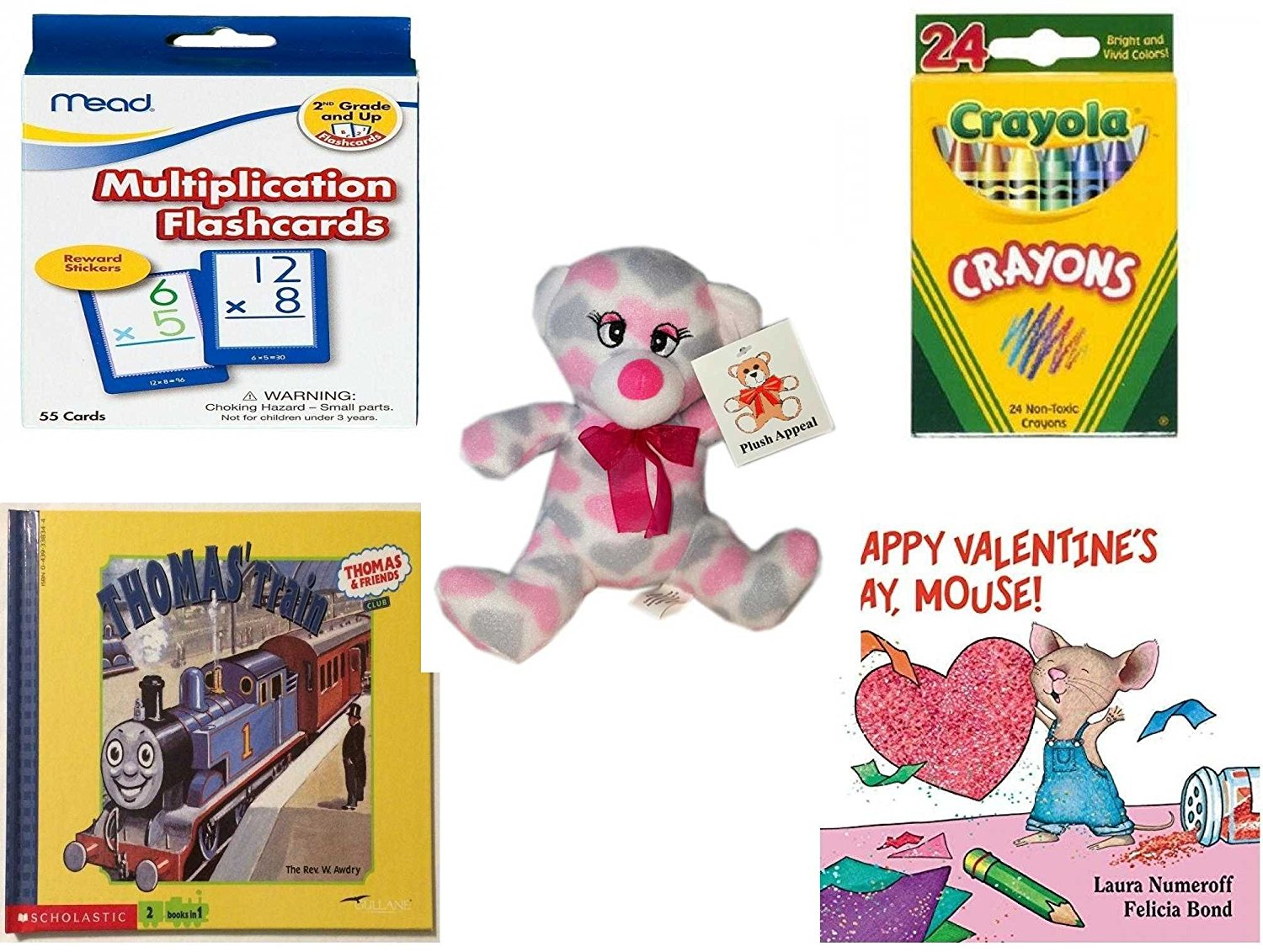 """Children's Gift Bundle - Ages 3-5 [5 Piece] - Mead Flashcards Multiplication Grades 2-3 - Crayola Crayons 24 Count Toy - Plush Appeal Pretty Pink and Purple Hearts Bear Plush 7"""" - Thomas & Friends:"""