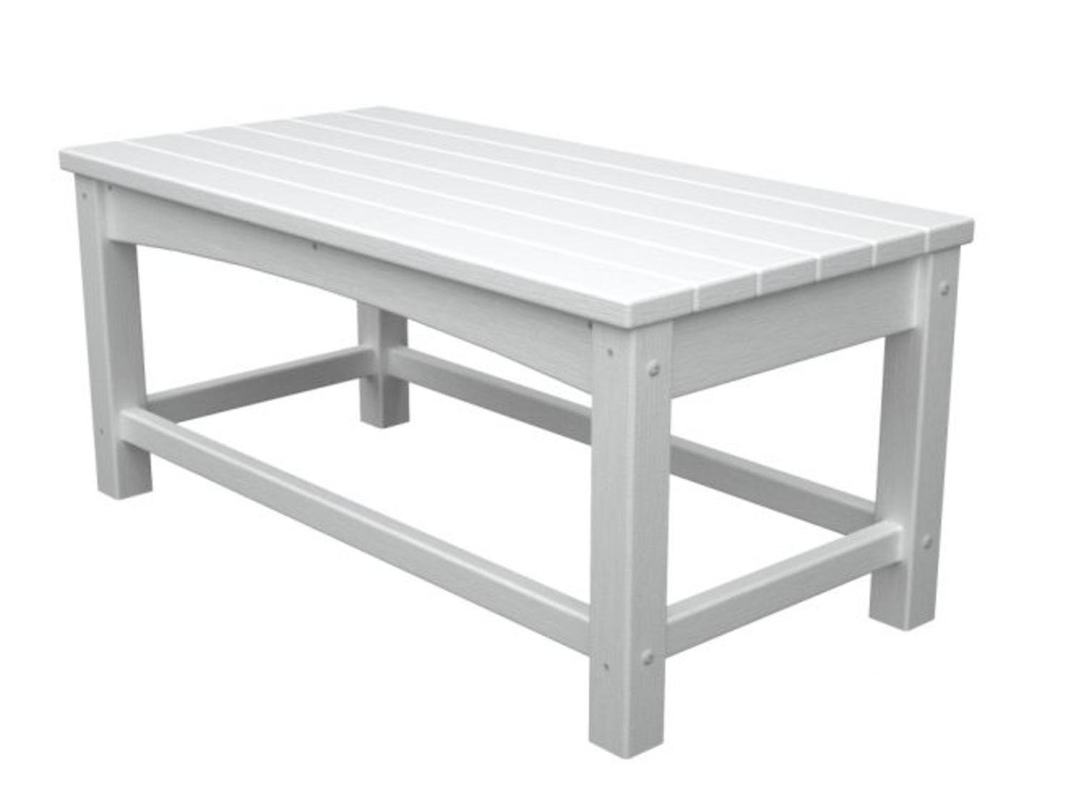 """35.5"""" Recycled Earth-Friendly Outdoor Patio Club Coffee Table - White"""
