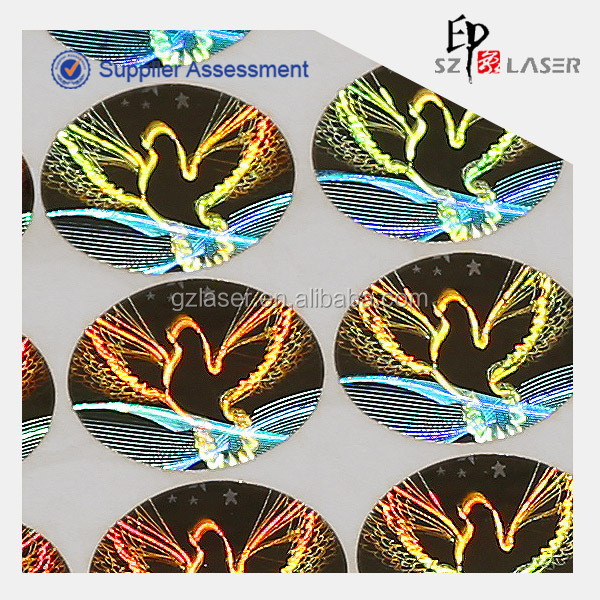 Dove hologram sticker with tamper evident material