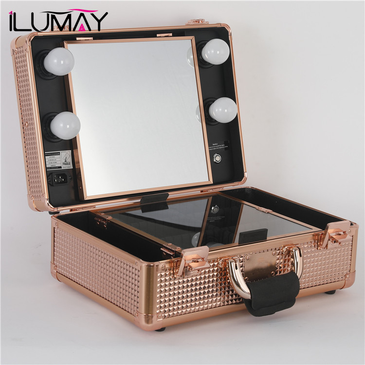 Ilumay Rose Gold Makeup Vanity Case With Mirror And Led ...