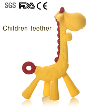 China high quality 3D lovely molar teeth stick yellow baby giraffe shape soft food grade silicone teether toy