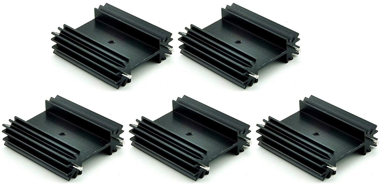 Easycargo 5 PCs To-247 Aluminium Heatsink 38x34x12mm,TO247 Anodized Black heat sink for cooling MOSFET SCR Power Voltage Regulator Ics (38mmx34mmx12mm)