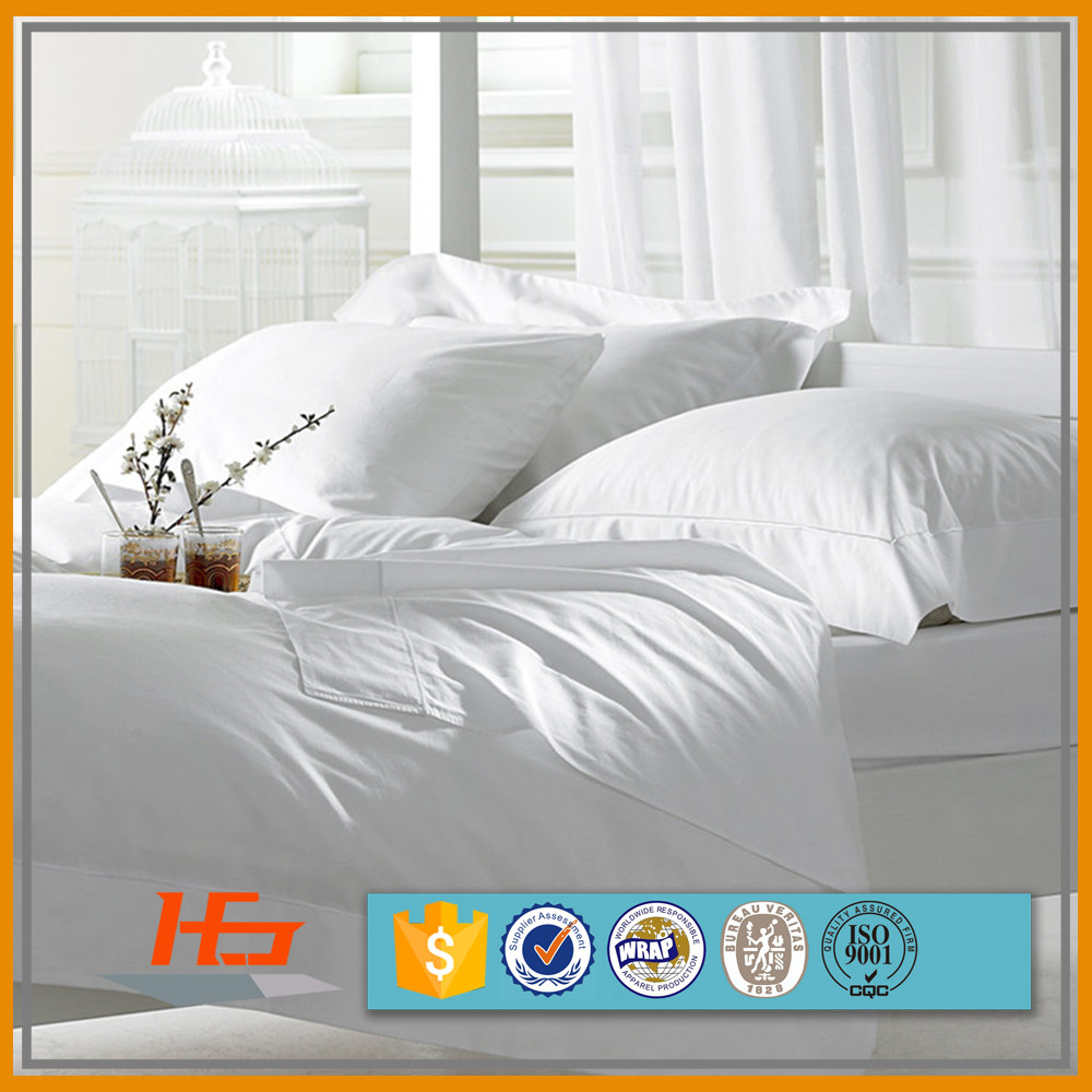 Queen Size 50% Polyester 50% Cotton White Plain Bed Sheets Set / Bed Linen Set