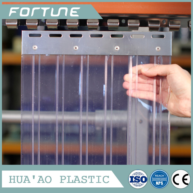 soft clear ribbed protection film plastic door curtain