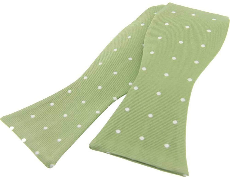 David Van Hagen Mens Polka Dot Silk Self Tie Bow Tie - Pale Green