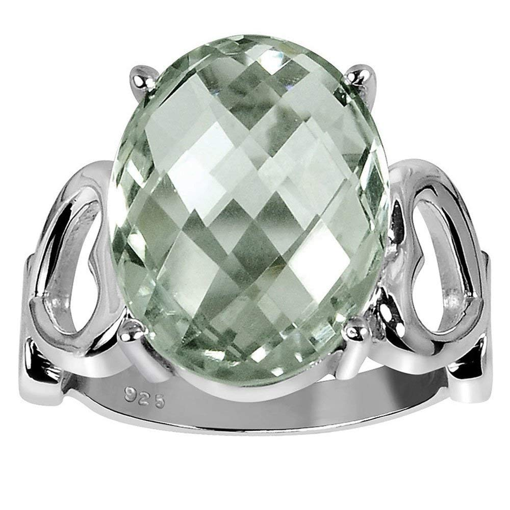 ec6ea678a Get Quotations · Orchid Jewelry 925 Sterling Silver Ring Green Amethyst  (8.50 cttw, 16x12 mm Cushion)
