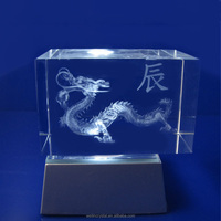 wedding gifts crystal crafs Souvenir led lighting chinese dragon image 3d laser engraving gifts