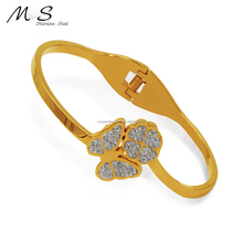 MS-001 Guangzhou Factory crystal diamond 18K gold Plated women stainless steel bracelet bangle