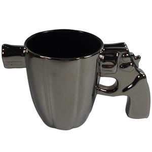 Cool black gun ceramic coffee mug with handle