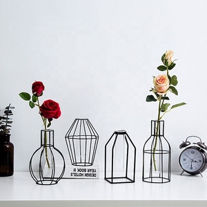 Home Decoration Trumpet Cylinder Glass Hydroponic Metal Flower Vase
