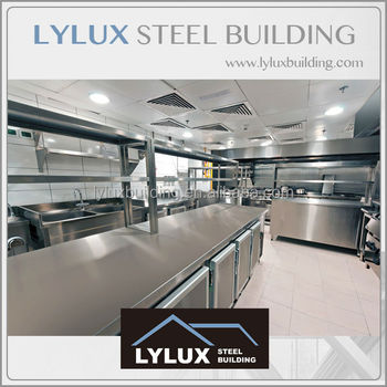 Luxury Hotel Layout Steel Frame Prefab Hotel Kitchen