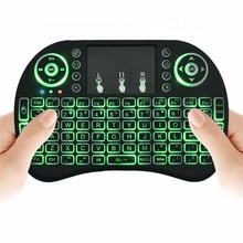 I8 Mini Draadloze 3-kleur terug <span class=keywords><strong>Toetsenbord</strong></span> 2.4G Kleur Backlit Air Mouse Touchpad Spaans <span class=keywords><strong>Toetsenbord</strong></span> Voor Android TV box Smart TV PC PS4