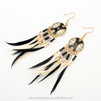 Summer Style Women Dangle Earrings Bohemian Jewelry Long Feather For Las