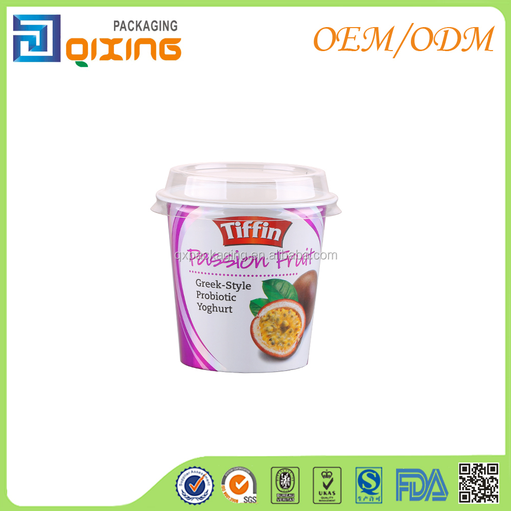 Custom plastic yogurt packaging cup with laser effect