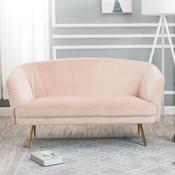 Cool Golden Legs Velvet Fabric Upholstered Sofa Pink Loveseat Velvet Living Room Sofa Furniture Pink Velvet 2 Seaters Sofa Buy Italian Fabric Sofa Modern Onthecornerstone Fun Painted Chair Ideas Images Onthecornerstoneorg
