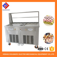 Wholesale factory direct supply 2 Pot fry ice cream making machine with 10 tub