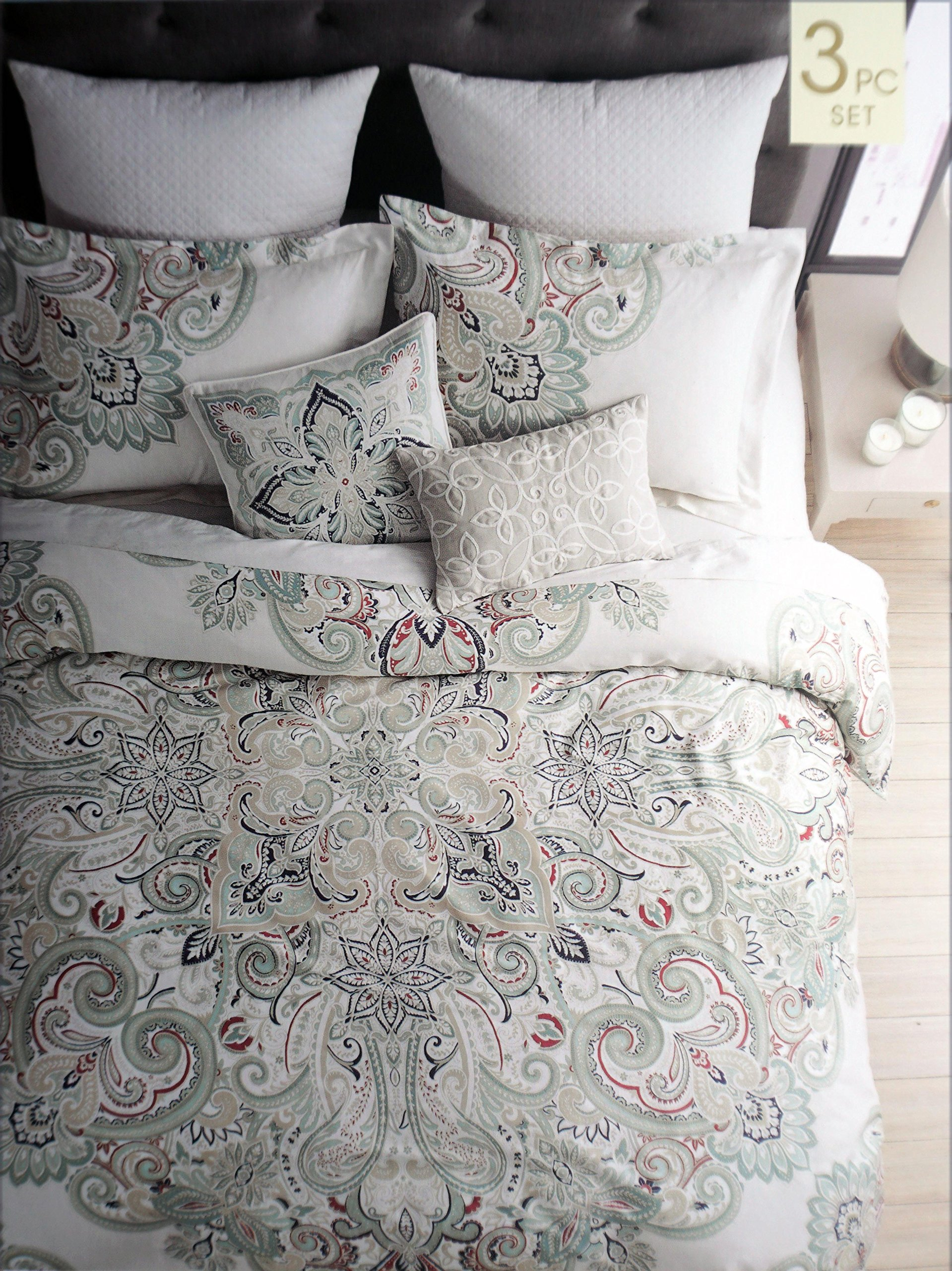 Get Quotations · Cynthia Rowley Bedding 3 Piece King Duvet Cover Set  Geometric Large Medallion Pattern In Shades Of