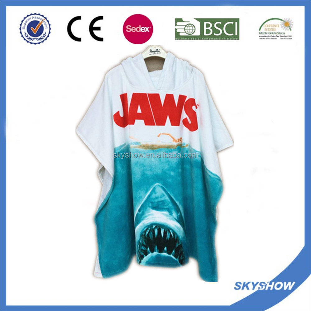 reactive printing hooded surf poncho towel for adults
