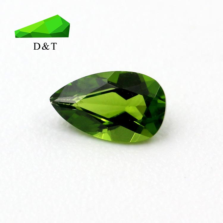 Factory sale loose natural pear shape 2x4mm one face checker Diopside gemstone