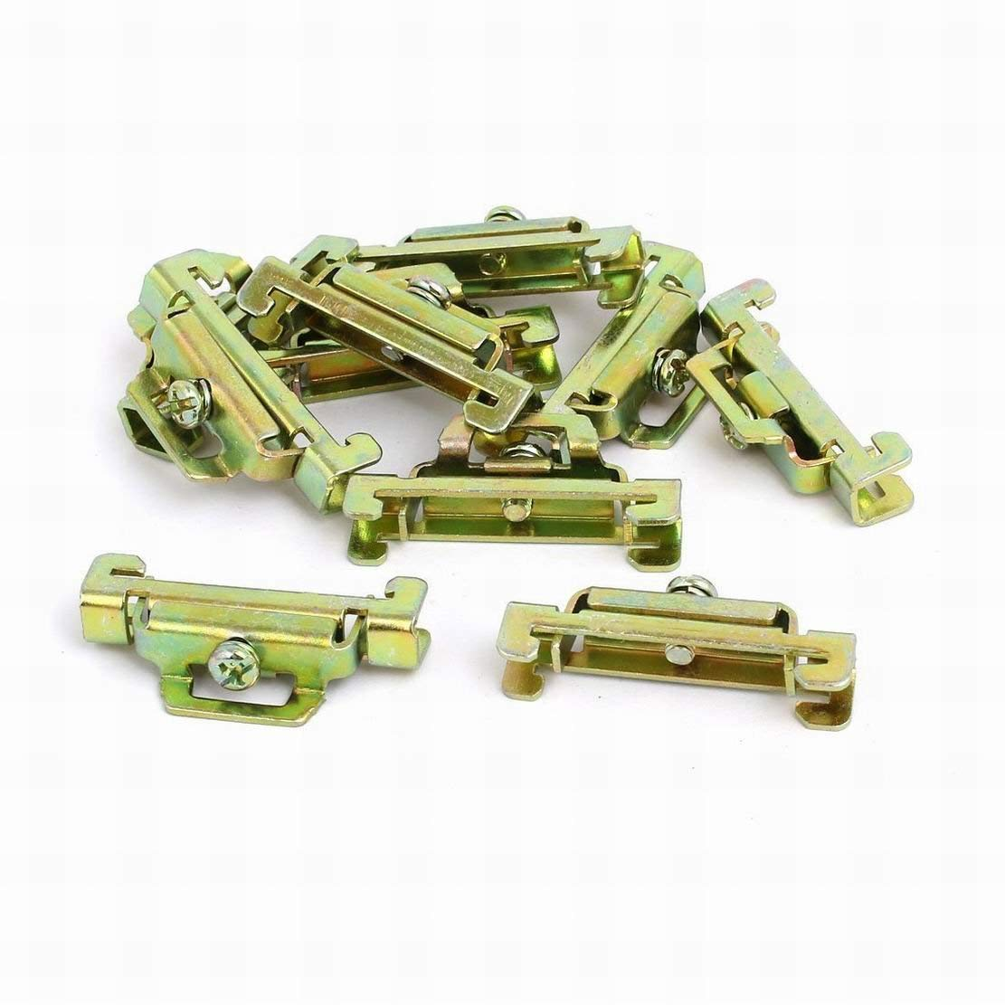 Ugtell 10 Pcs 35mm Width DIN Guide Rail Buckle Fixed Clamp Bronze Tone 44mmx8mmx22mm