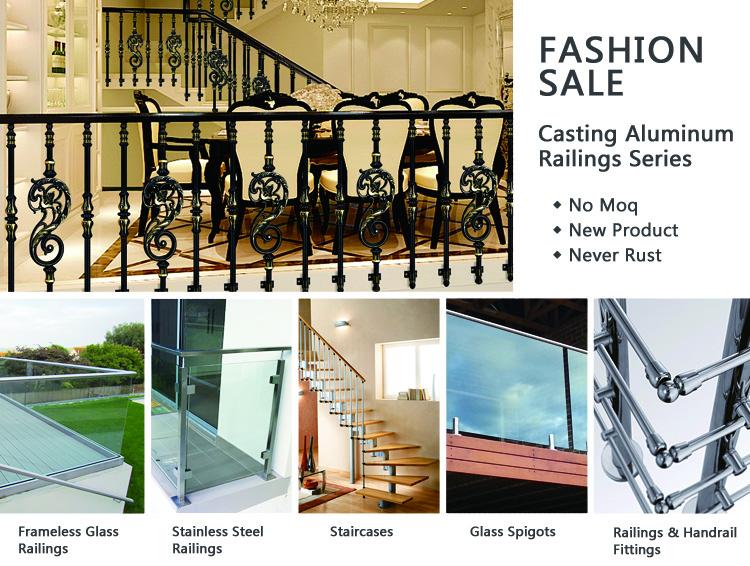 Decorative roof deck balustrade handrails metal stair railing kits for pillar