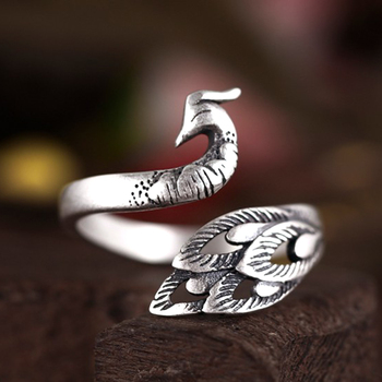 c4ecd6926 Vintage Design 925 Sterling Silver Peacock Rings For Women Party Gift  Jewelry Anel de Prata Bague