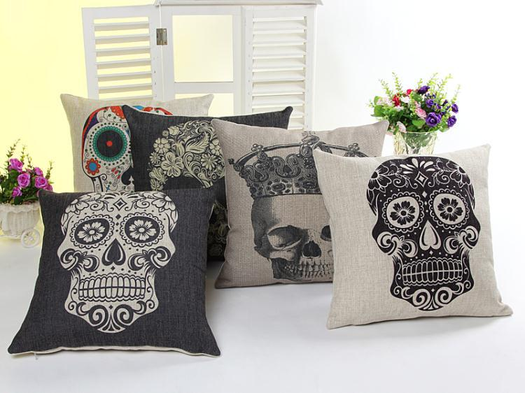 Handmade 100% cotton linen 45cm*45cm the day of the dead skull pillow pillows sofa cushion for leaning on of cartoon pillow