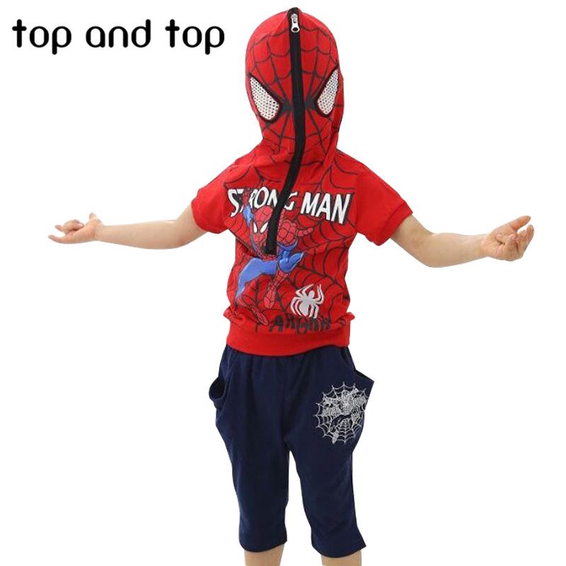 Spiderman Children Boys Clothing set Baby Boy Spider man Sports Suits t shirt pant Kids 2pcs
