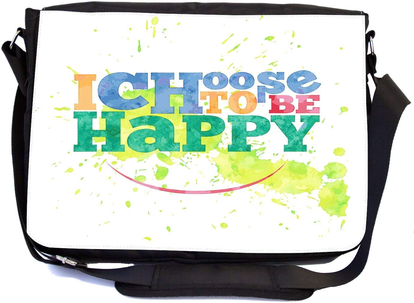 Rikki Knight I choose to be happy design Design Multifunctional Messenger Bag - School Bag - Laptop Bag - with padded insert for School or Work - Includes UKBK Premium coin Purse