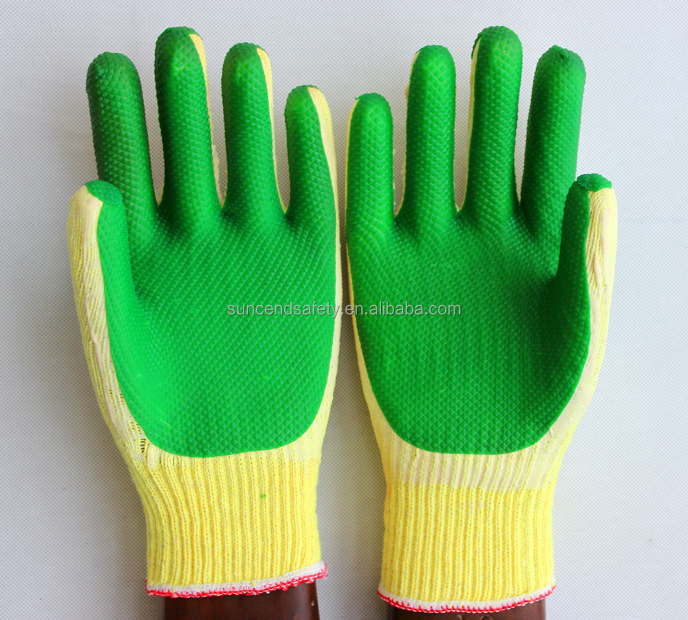 Man Safety Glove Yellow TC Shell Green Latex Palm Coated working Gloves of China