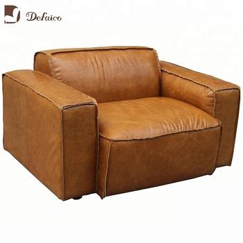 Modern Design Full Grain Leather Single Sofa Set