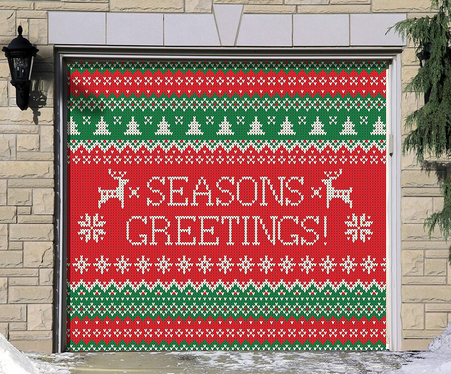 Victory Corps Outdoor Christmas Holiday Garage Door Banner Cover Mural Décoration - Ugly Christmas Sweater Seasons Greetings - Outdoor Christmas Holiday Garage Door Banner Décor Sign 7'x8'