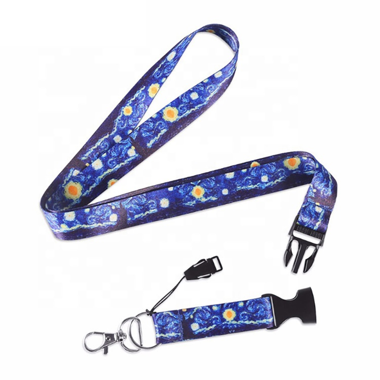 woven personalized printing printed custom lanyards with logo custom retractable neck sublimation polyester lanyard