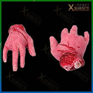 2015 - X-MERRY Haunted house fake bloody chopped hand halloween prop Prank gangster severed Hand