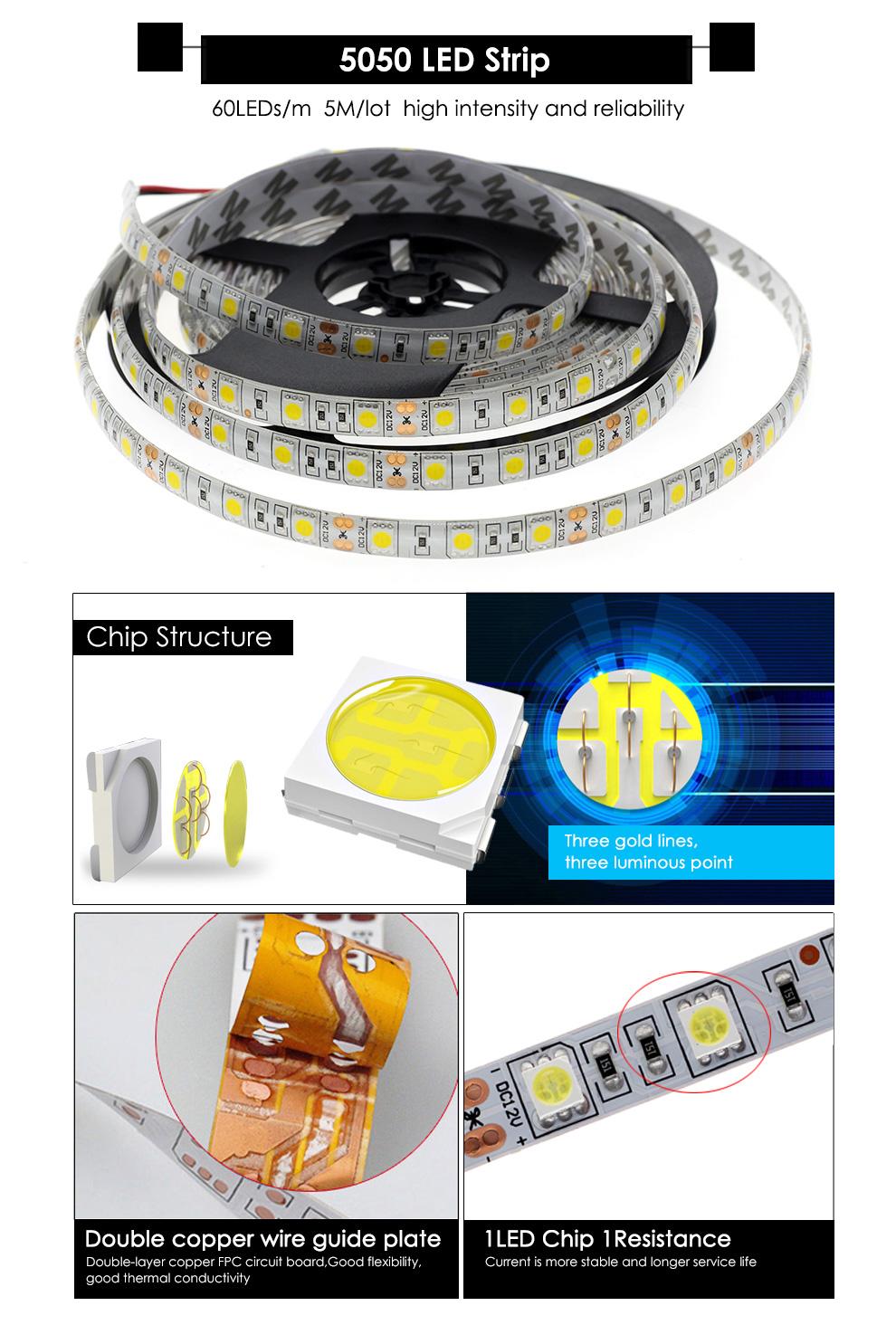 FEICAN LED Strip 5050 DC12V 60LEDs/m 5m/lot Flexible LED Light RGB RGBW 5050 LED Strip