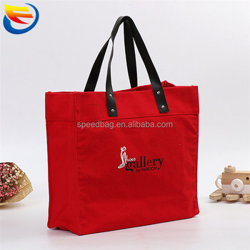 Eco print red canvas tote shoulder bag leather handle