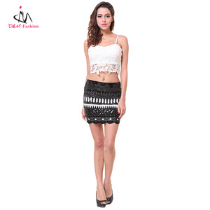 Womens Spaghetti Strap White Lace Crop Top + Skirt Set Black Geometric Sequin Party Wear Lady Mini Scallop Pencil Skirt Suit