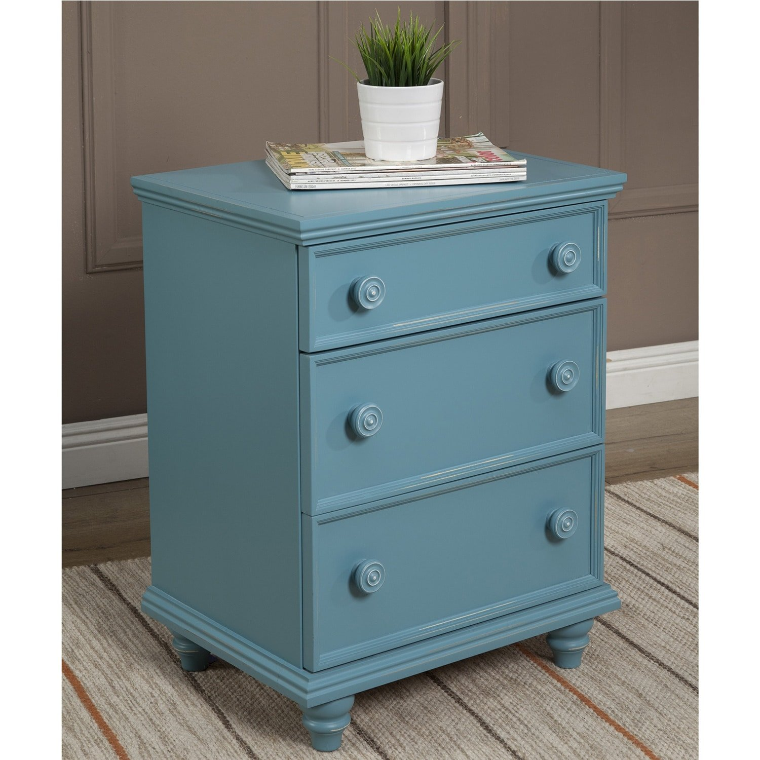 JOHN BOYD DESIGNS Notting Hill Night Stand 3 Drawer Blue Blue Finish, Painted