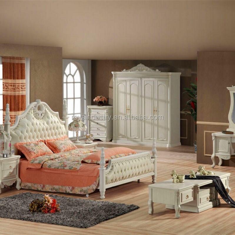 Style europ en en bois massif sculpt chambre meubles for Mobilier de chambre blanc